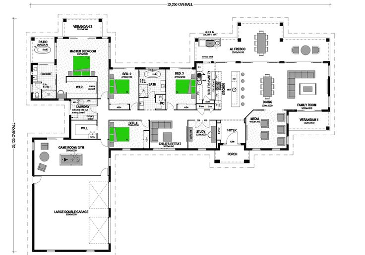 """Hello… I'm back with Floor Plan Friday again in 2016! Today I found this luxurious and large family home. I am in love with this one and would have it in a heartbeat. The photo of the facade really cemented it for me. It would suit premium acreage land with views. """"Given correct orientation, the comfortable Montego has an excellent environmental pedigree, designed to bring you the warming sun and fresh breezes of a morning and protectively shade and cool its family during hot summer…"""