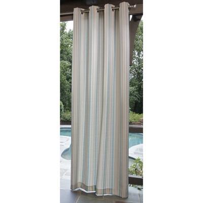 Allen Roth Indoor Outdoor Patio Curtain Panel Aqua Stripe 52 x 84 Drapes NIP | eBay
