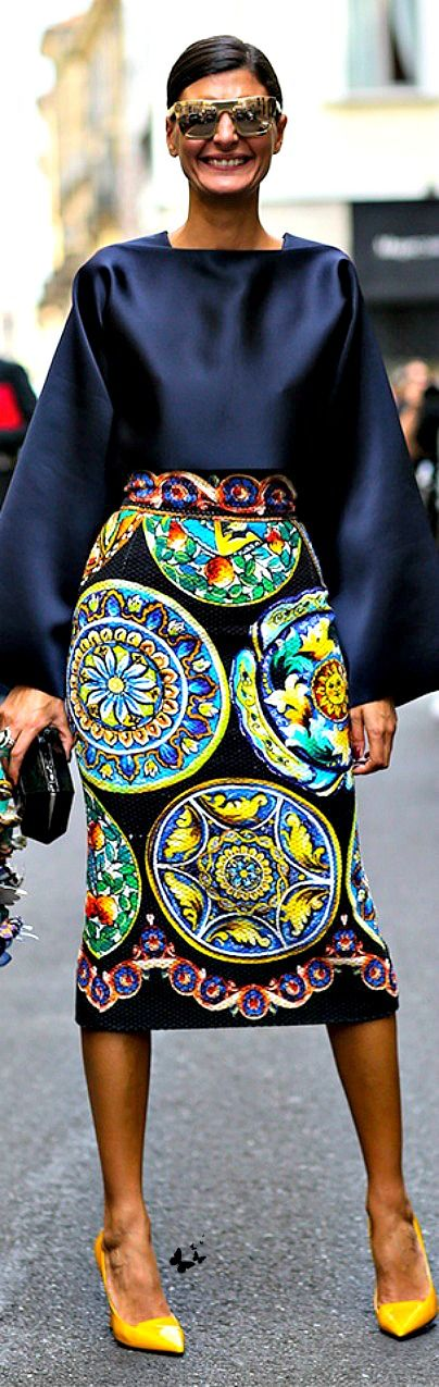 Street style Milan FW Spring 2015 via Giovanna Battaglia a former Dolce & Gabbana model and editor of Vogue Japan