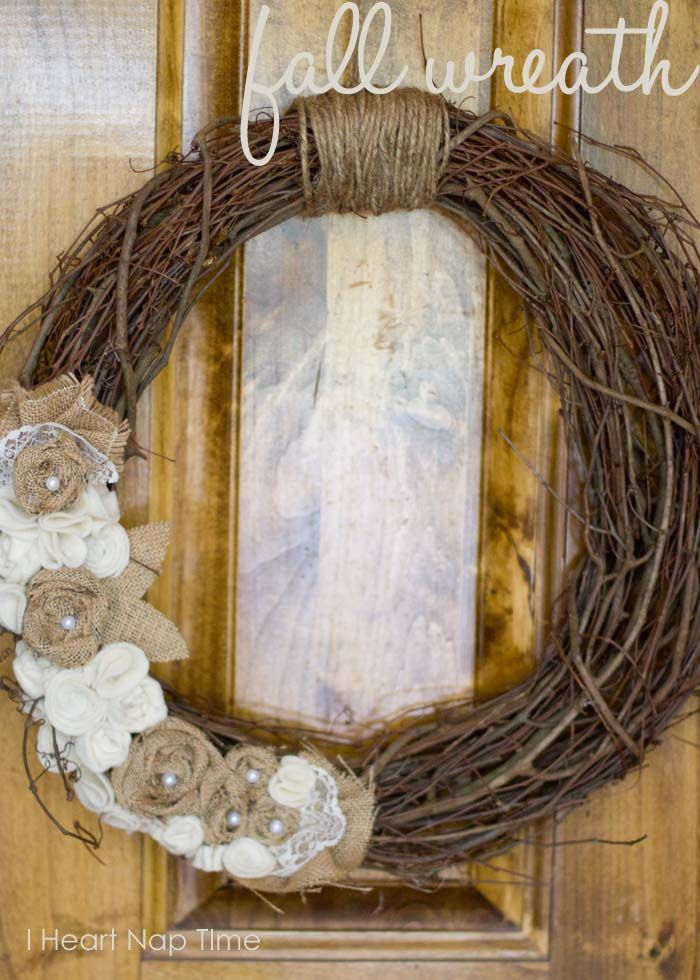 Fall Wreath - Sticks & Burlap flowers