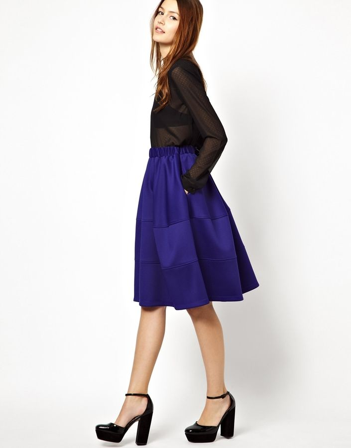 ASOS Full Midi Skirt in Scuba with Tiered Seam Detail