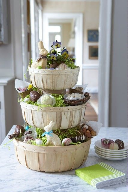 Easter basket ideas, Three-tiered Easter Basket Centerpiece, Rustic Easter craft ideas, Easter party decorations  #Easter #ideas #holiday www.loveitsomuch.com