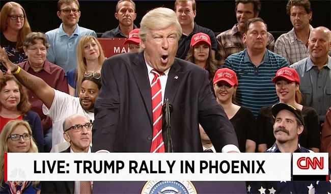 Alec Baldwin took on Trump's unhinged rally in Phoenix in the latest summer edition of 'Weekend Update.'