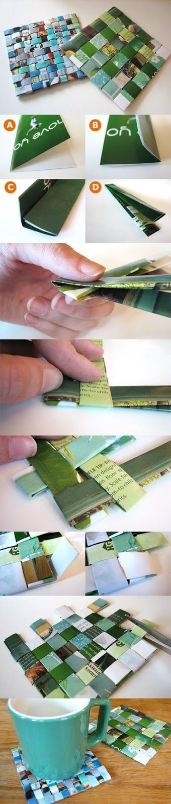 How To: Make Recycled Magazine Coasters. Simple, but don't forget to seal your new coaster to keep it safe from water.