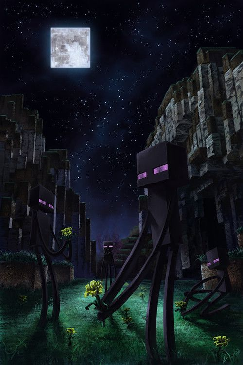 #Minecraft - realistic nighttime scene with endermen picking flowers