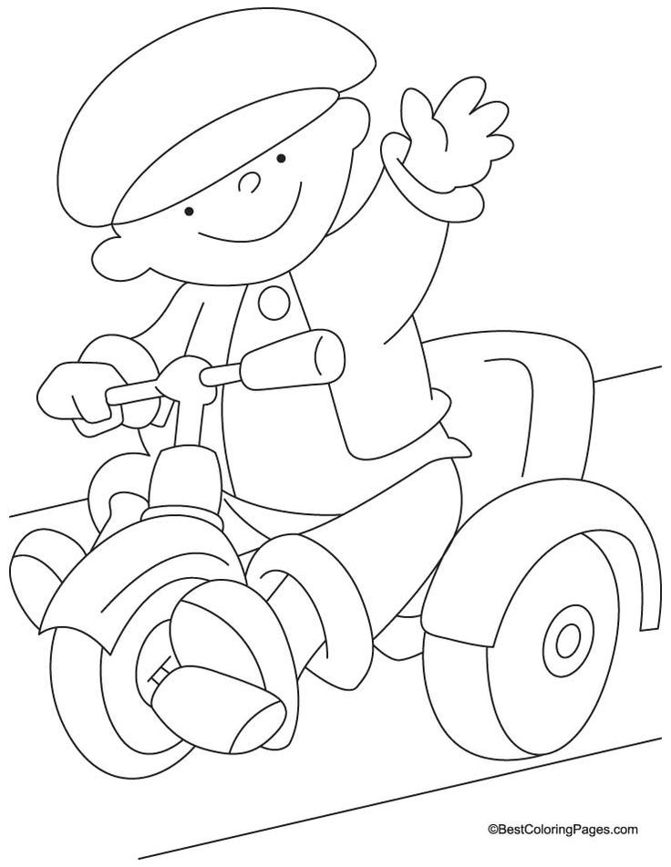 Tricycle coloring page 3 Download