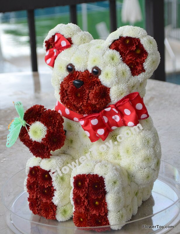 This cute teddy bear arrangement is made from fresh - Flower teddy bear arrangement ...