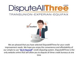 "We offer you sample credit repair letters that are effective for fixing your credit disputes. For more information simply click our ""Stop Debt Collector"" button and we will get back to you... www.disputeallthree.com"