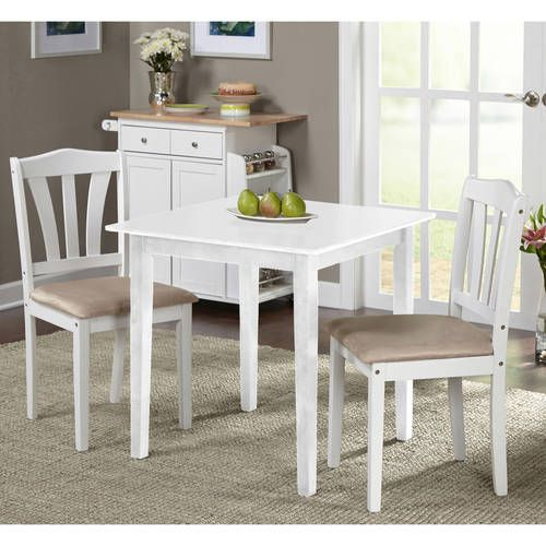 Metropolitan 3 Piece Dining Set Multiple Finishes Walmart Com In 2020 Small Kitchen Table Sets White Dining Room Sets 3 Piece Dining Set