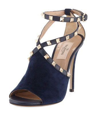 eab10392dc8 Suede+Rockstud+Ankle-Wrap+Sandal+by+Valentino+Garavani+at+Bergdorf+Goodman.