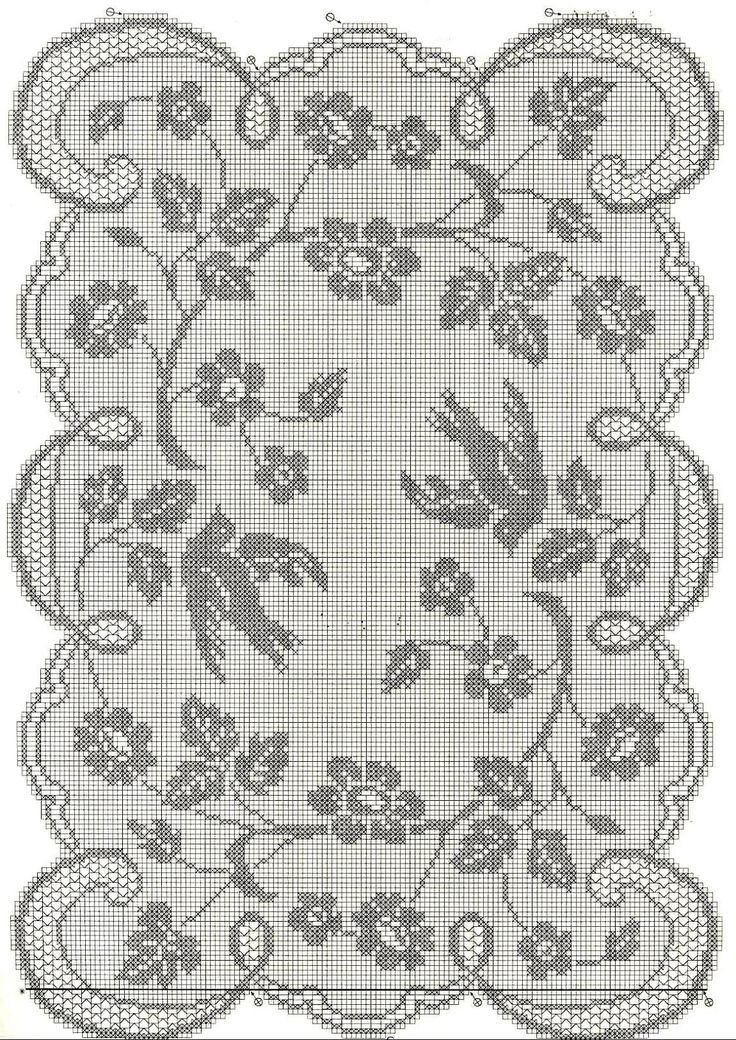 "Filet Crochet Chart b/w. Wild Rose and Pigeon Design by Mary Card (1132×1600) ""Muestras y Motivos. Especial No.11"""