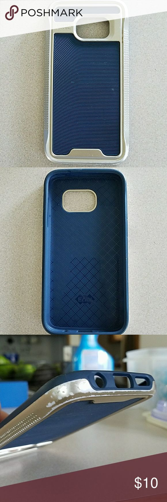 Galaxy S7 phone case Navy blue with gold accent, had some wear as shown in pictures that are on the back. Other