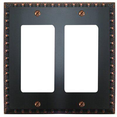 amerelle renaissance cast metal double gfi rocker switch wall plate aged bronze by amerelle