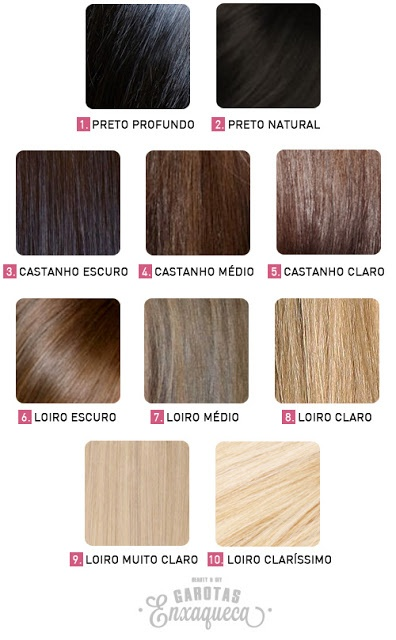 www.garotasenxaqueca.com cor, cabelo, tinta, loiro, castanho, preto, numeração