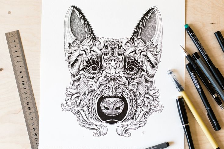 Graphic artist and illustratorAlex Konahin(previously here and here) has just finished a new illustration-based project centered around the subject of seriously detailed dogs. The Latvia-based artist is known for his highly decorative style which he illustrates in each of his drawn subject