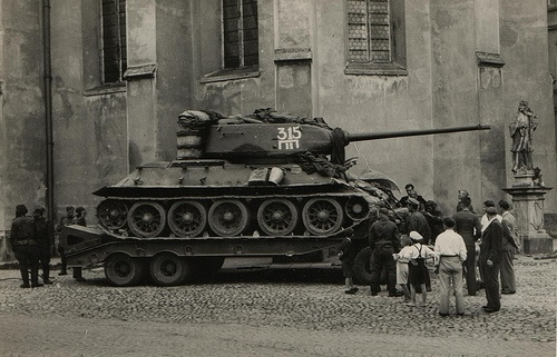 T-34-85  T-34-85 May 1945. Tank t-34-85 62 from the Soviet 1st guards tank Brigade,on loaded on lowloader ready to head for the front .