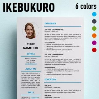 Free clean resume template for Microsoft Word. Includes Cover Letter template. 2-column CV template with 3 color schemes. Simple design but professional.