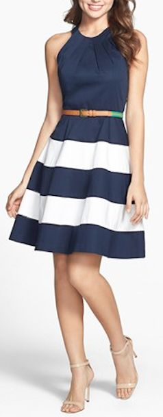 cute striped navy #blue dress http://rstyle.me/n/itnrzr9te - not the belt