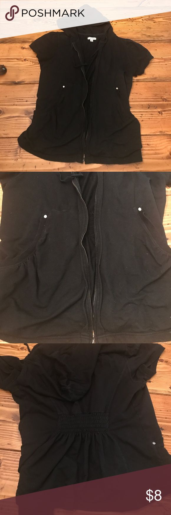 Black Maternity Short sleeve Jacket Cute jacket for summer time cover up or for style! Zipper is hard to zip and black is a little faded I loved this and wore it with both pregnancies! A great must have item for your baby bump! Liz Lange for Target Tops Sweatshirts & Hoodies