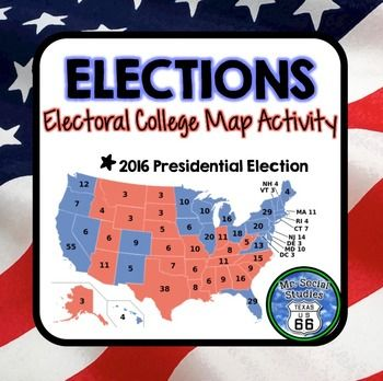 Perfect for the 2016 presidential election! This is an Electoral College Map Activity that contains a two-page introduction and a two-part activity. Students color in the predicted safe states for each candidate and answer analysis questions before the election. After the election results, students finish coloring in the states and find the grand total of electoral votes for each candidate