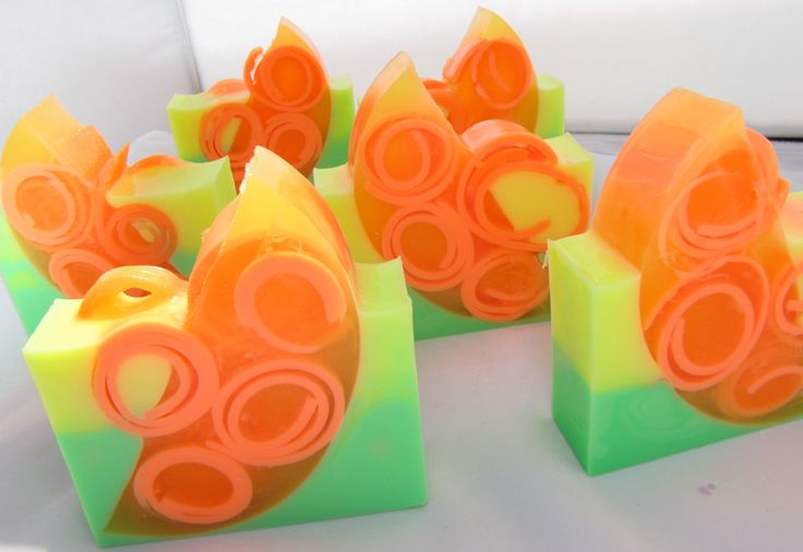 "Handmade glycerine soap scented in ""Citrus Splash""... Glycerin soap with added HONEY in orange, yellow, and green."