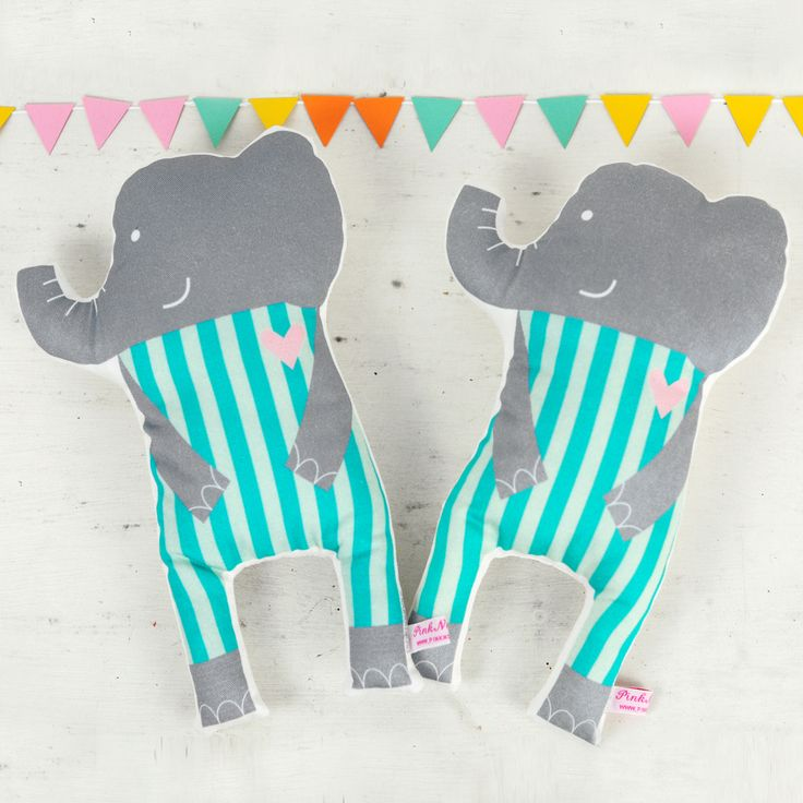 handmade soft toy doll elephants for kids play or nursery decor - by PinkNounou