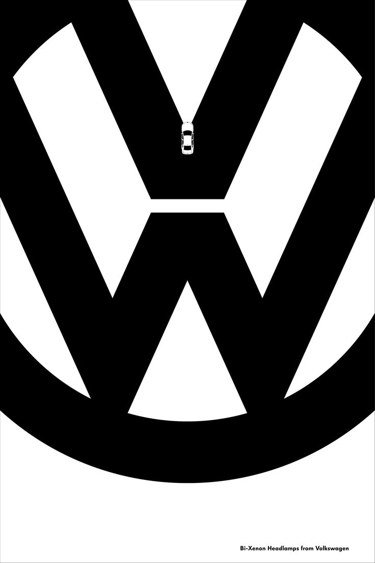 D ad poster design - Bi Xenon Headlamps Volkswagen Monochrome Minimalist Illustration Advertising Poster Award Winning Graphic