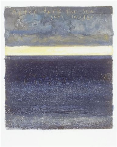 After dark the sea gets louder 28 x 24 cm mixed media, collage and etching - Kurt Jackson