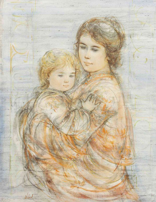 """Edna Hibel """"Mother and Child"""" Signed Limited edition lithograph"""