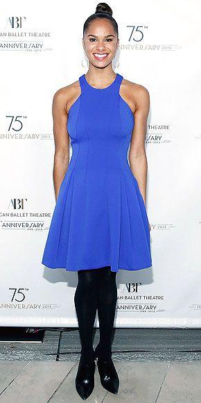 Ballerina Misty Copeland in a royal blue dress and a perfect bun, natch.