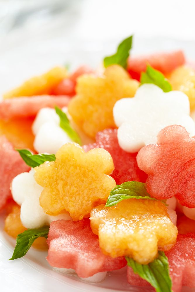 Fruit salad with melon and watermelon via #babyshowerideas4u #babyshowerideas Baby shower ideas for boy or girl