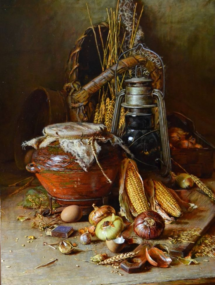 Russian Master: Nikolayev Yury http://www.russianfineart.com/catalog/prod.php?productid=22417 Still Life With Corn - oil, canvas