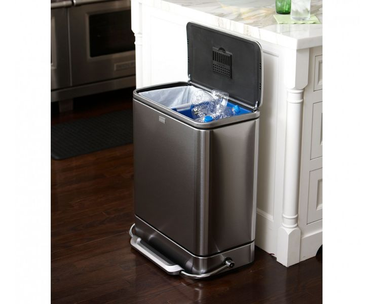 simplehuman 55L stainless steel bar recycler trash can