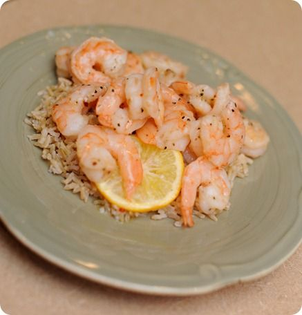 Lemon Butter Shrimp: A great weeknight meal.  Seriously takes about 20 minutes start to finish, 30 if you have to thaw the shrimp.  Delicious.  I usually have it with some rice and a green veggie of some sort.