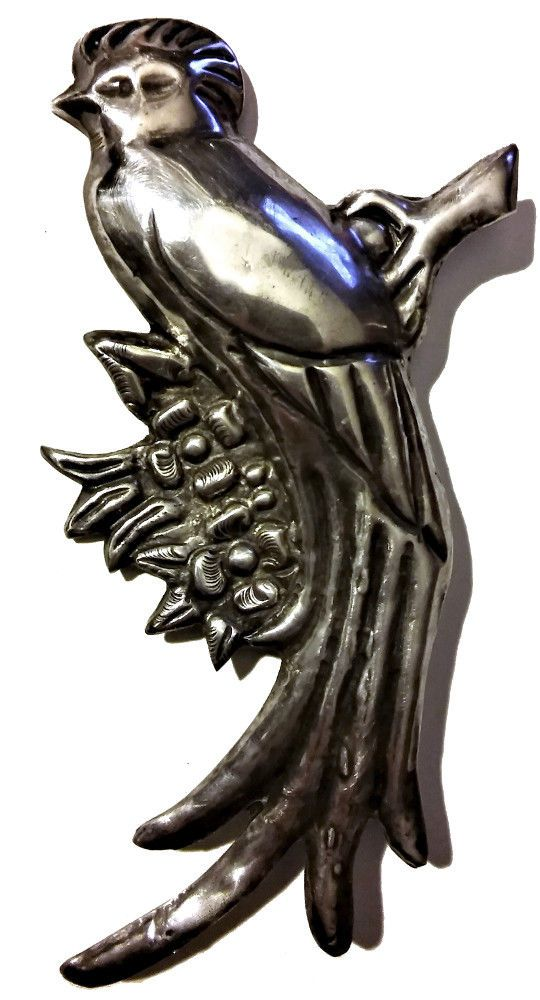 GIANT Antique Vintage Mexican Silver Mexico Deco Taxco Sterling Bird Frida 30s ! #Taxco