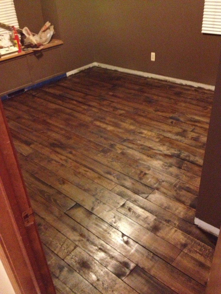 Floor Made Of Pallet Crib Boards Drum Sanded Stained