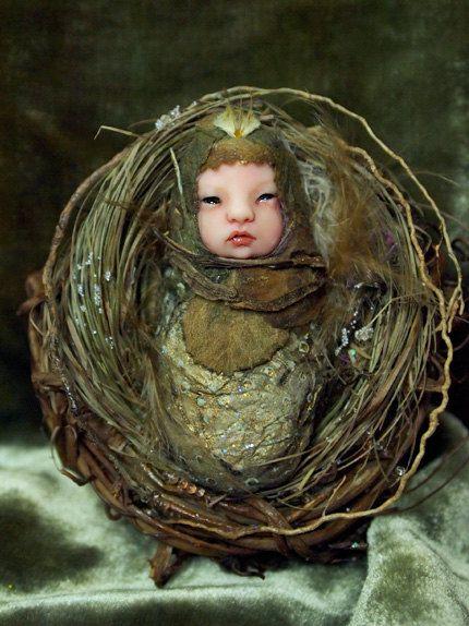 Fairy Baby on Nest Hand-sculpted OOAK Art Doll