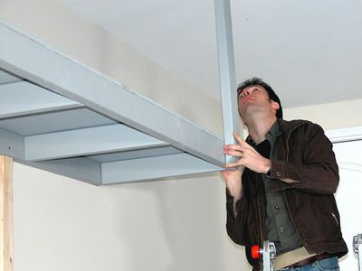 how to build garage shelves from ceiling