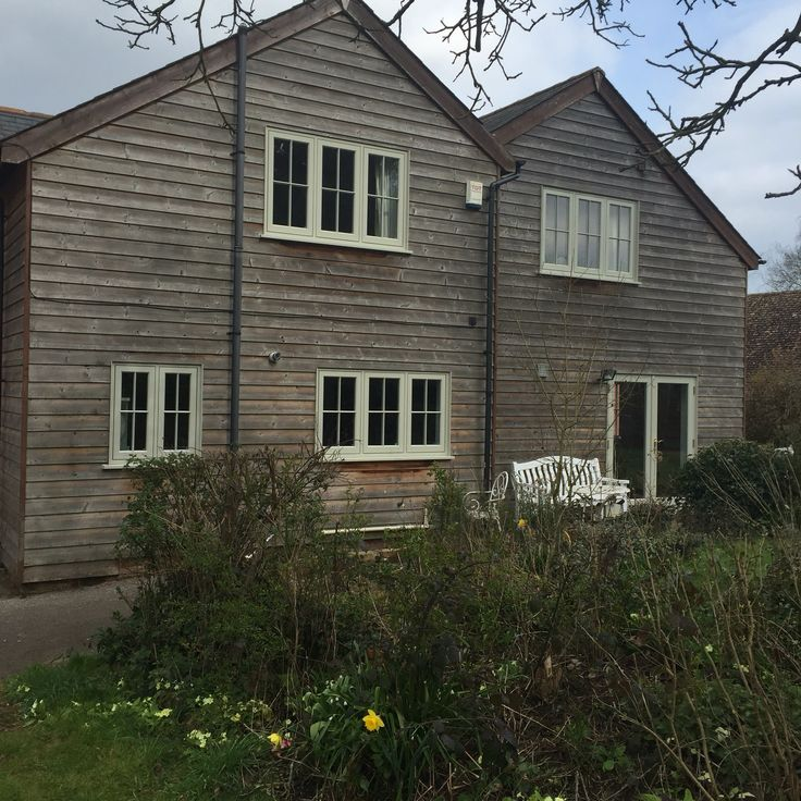 Timber Flush Casement windows painted Farrow and Ball French Grey.