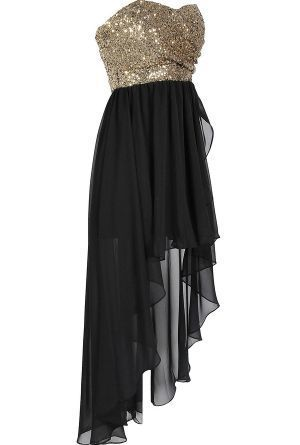 Backless Black Homecoming Gown, Princess Sequin Dance Prom Dresses ,High-Low Evening Dress For Teens