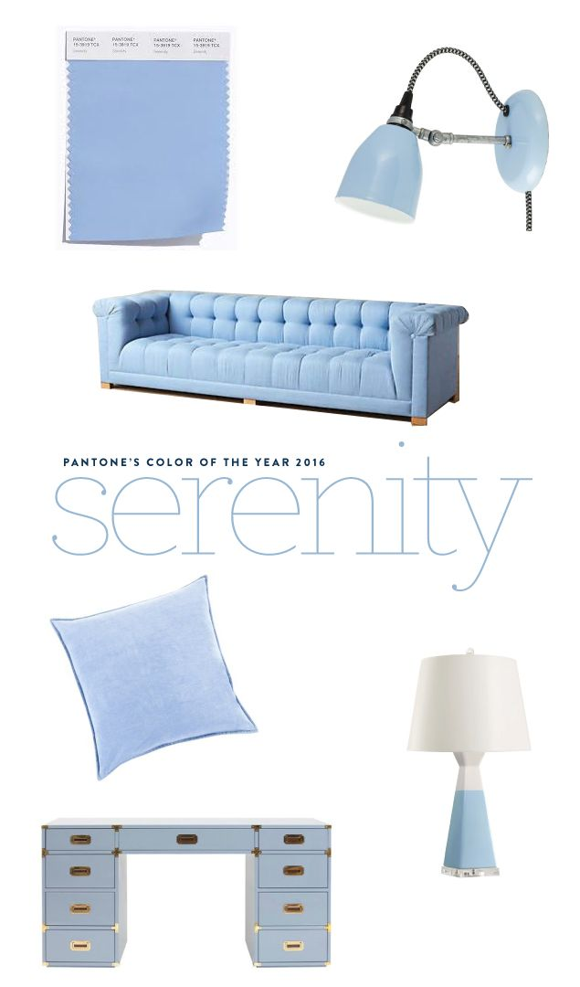Pantone's color of the year 2016: Serenity. How to decorate with serenity, furniture picks, lighting, decor www.pencilshavingsstudio.com