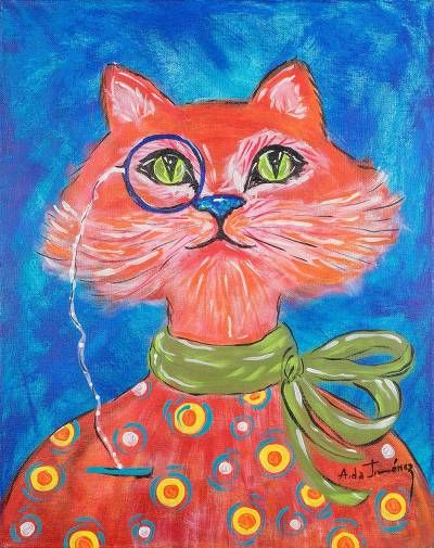 Signed Whimsical Painting of a Cat from Costa Rica, 'Astute Cat'