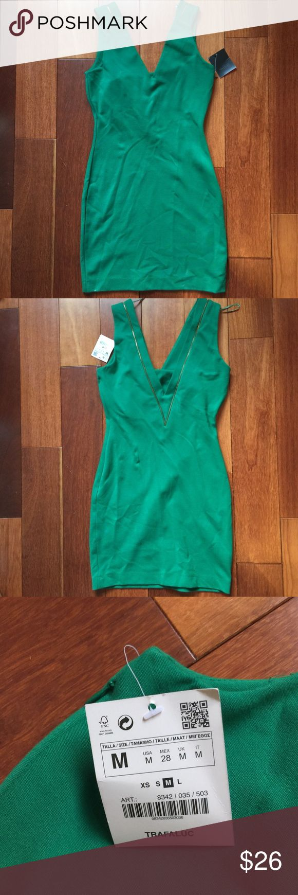 NWT Zara Trafaluc Green Bodycon V-Neck Dress NWT green bodycon dress from Zara Trafaluc. Has a v shape in the front and the back and adorable zipper detailing. Perfect for a night out, very flattering. Perfect condition, new with tags. No trades, from smoke and pet free home. Zara Dresses Mini