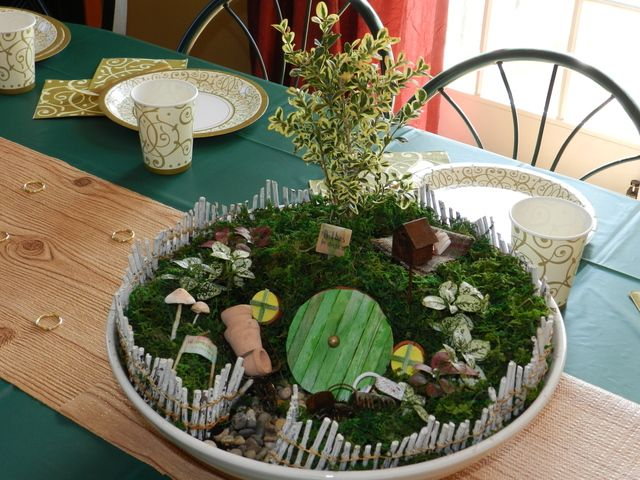 Centerpiece Hobbit party decorations #hobbit #partydecor  Or....  for a fun activity, we could make mini Hobbit gardens!