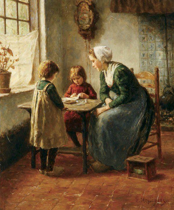 The Sewing, Hendrik Heyligers. Dutch (1877-1967)
