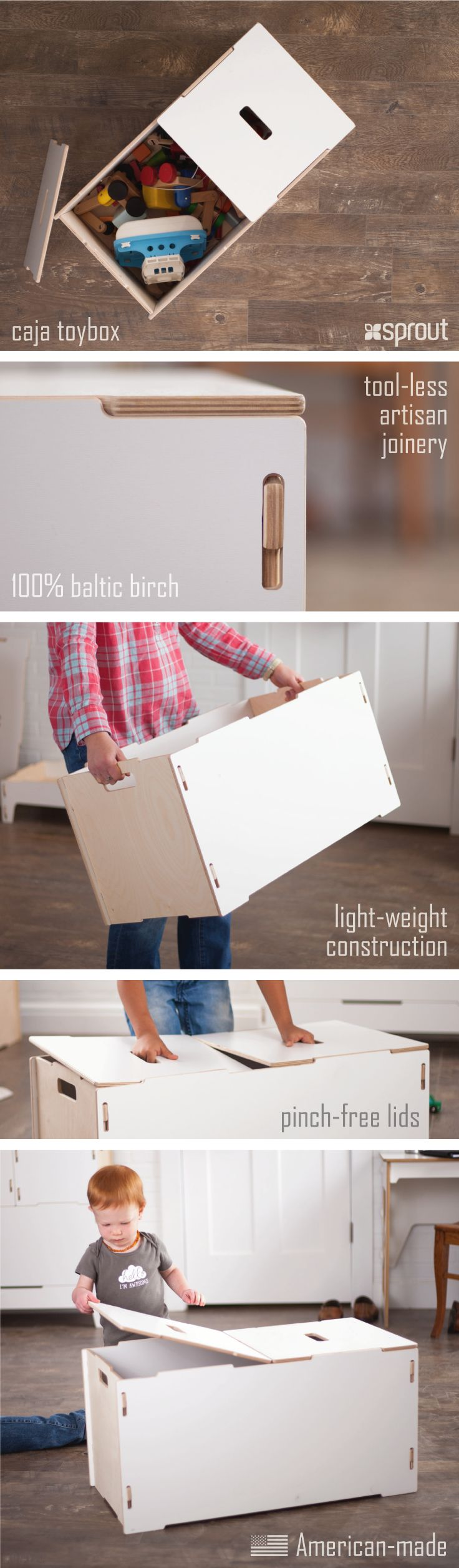 Sprout's white wooden toy box is light weight, durable, and has plenty of space for the treasures of childhood. 100% Baltic birch with tool-less artisan joinery.  Learn more about the wooden toy box at Sprout.