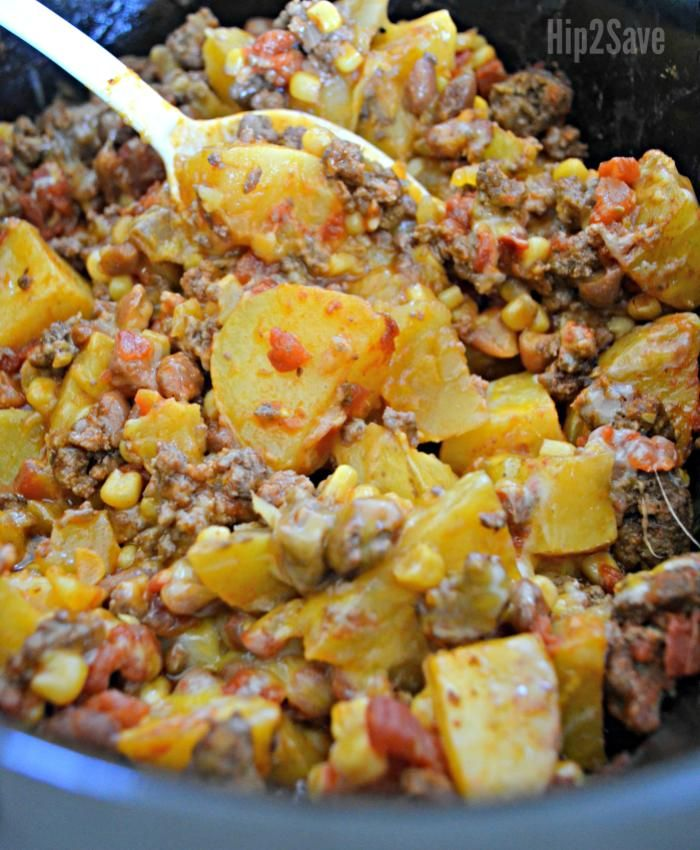 Slow Cooker Cowboy Supper Easy Weeknight Meal Idea Hip2save Crockpot Recipes Slow Cooker Crockpot Recipes Easy Supper Recipes