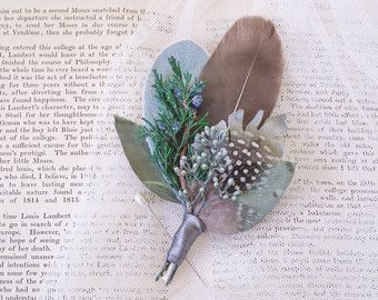 Feather boutonniere Wedding buttonhole Feather lapel pin Wedding boutonniere Groomsmen corsage Groom boutonniere Rustic wedding - DORIAN
