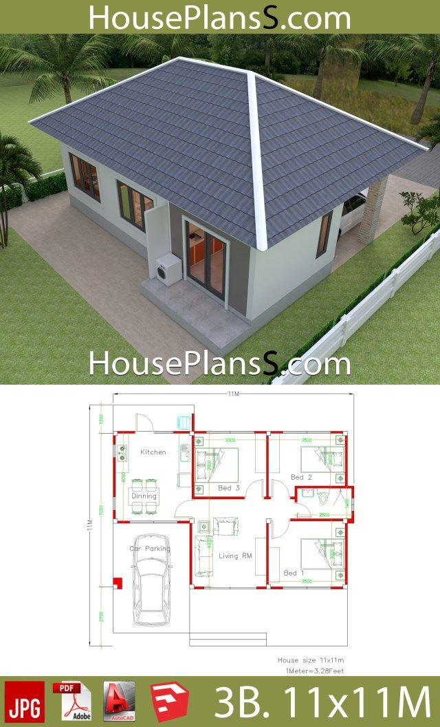 Simple House Design Plans 11x11 With 3 Bedrooms Full Plans House Plans Sam Simple House Design House Plans Flat House Design