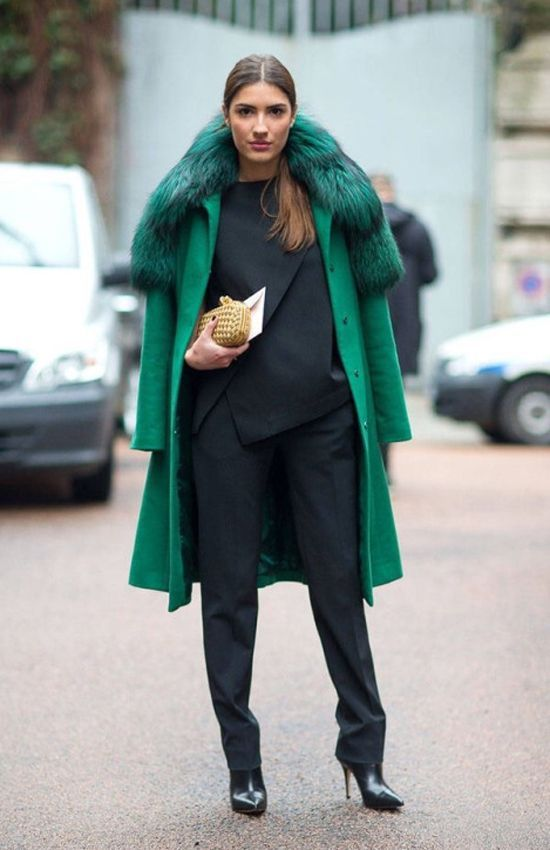 coat green fur models fashion winter outfits 2016 trends